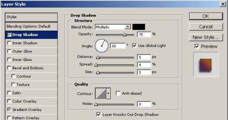 Gambar 1.10. Atur parameter Drop Shadow