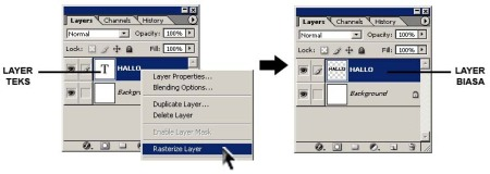Gambar 1.3. Ubah layer teks menjadi layer biasa