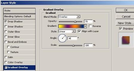 Gambar 1.9. Atur parameter Gradient Overlay