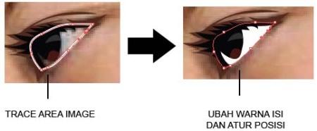 Gambar 15.11. Trace area putih mata