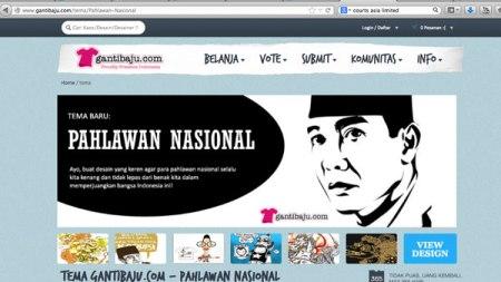 Banner GantiBaju.com Memakai Ilustrasi Bajakak