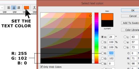Atur warna teks menjadi oranye